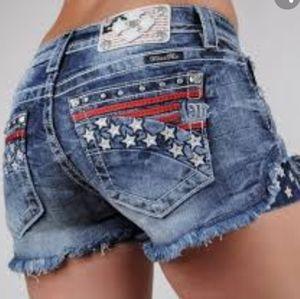 MISS ME red white blue USA denim cutoff shorts 29